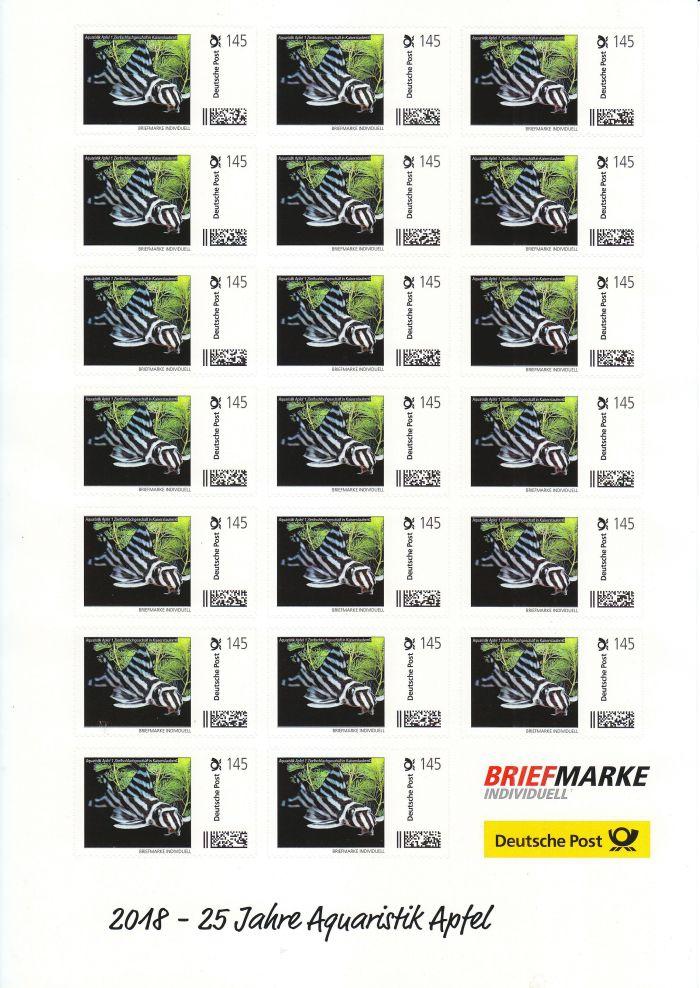 AA-Briefmarke 1,45 €  Deutsche Post 20 x 1,45 €Individuell Zebrawels