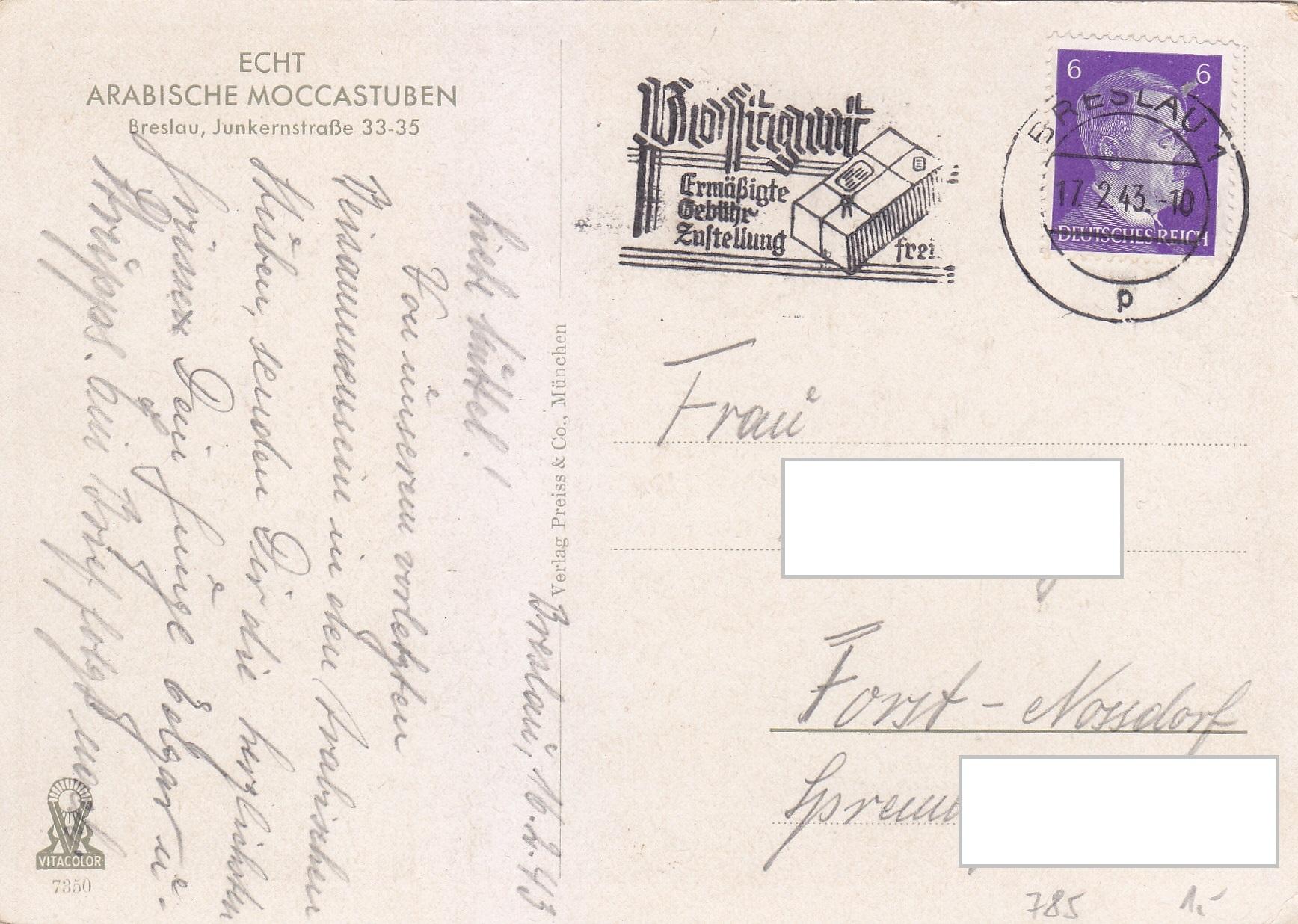 Deutsches Reich # 785 auf Postkarte