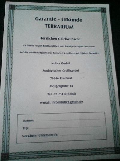 Herstellergarantie-Urkunde