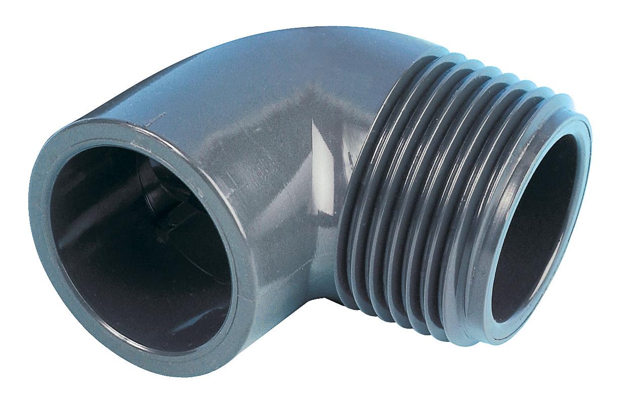 PVC-Winkel 90° mit Außengewinde (AG)