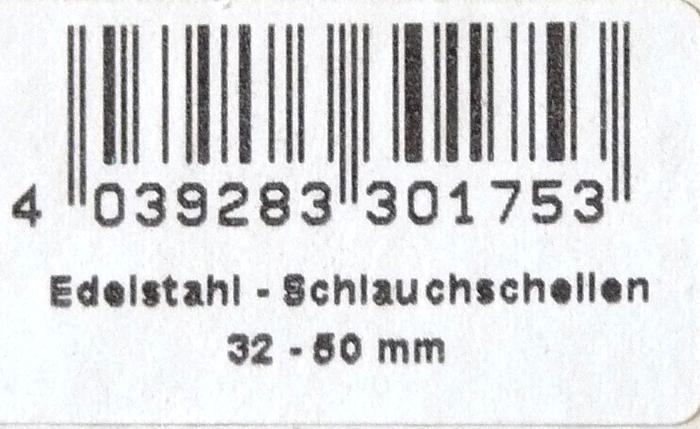 """Edelstahl-Schlauchschelle 32-50 mm (1 1/2"""")"""